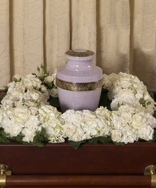 Classic White Square Urn Wreath