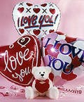 """Valentine's Day Bear and Balloon Bouquet"""