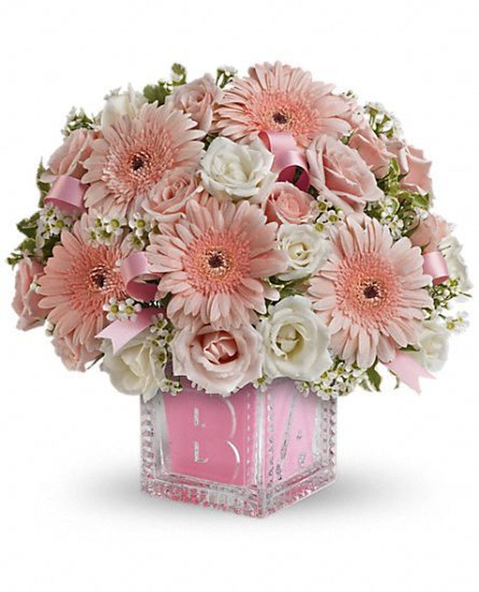 "4c009f09b ""Crystal Baby Block - Baby Girl"": Building Block of Style -  Atlantic City Florist - Fischer Flowers - New Jersey Florist"