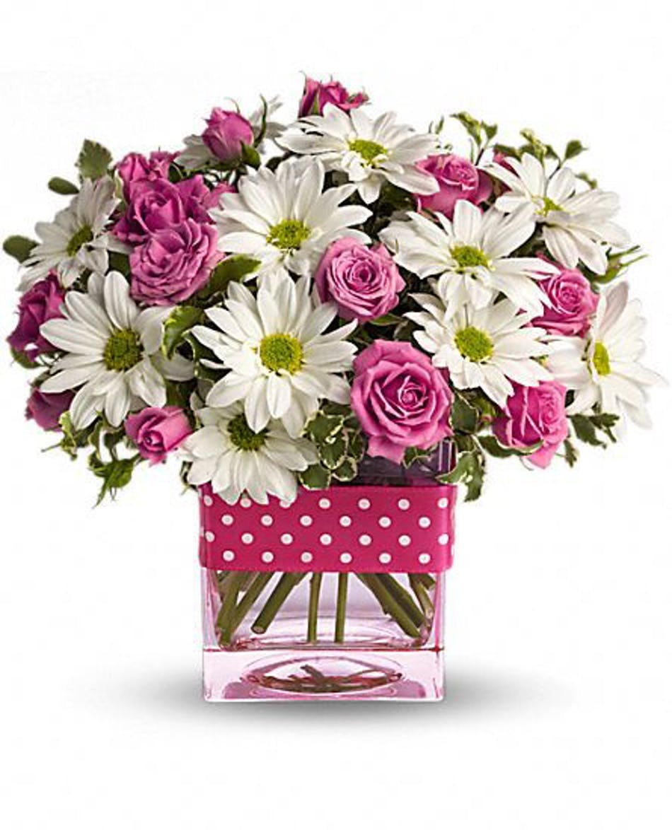 White Daisies Hot Pink Roses Pink Glass Vase Same Day Delivery